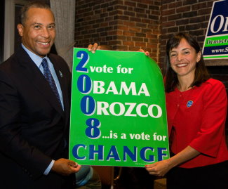 Governor Deval Patrick with Sara Orozco, Democrat for Massachusetts Senate